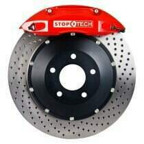 StopTech 07-2014 Mustang 380x32mm Big Brake Kit - Replaces OEM Brembos (Red 6 Piston Caliper - Drilled Rotor)