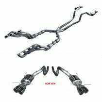 """ARH 2013-2104 Shelby GT500 1-3/4"""" Long Tube Headers with 3"""" Catted Mid Pipe and """"Pure Thunder """" Quad Tip Cat-Back"""