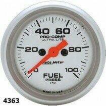 "Autometer Ultra-Lite Series 2 1/16"" 0-100 PSI Fuel Press. Gauge"
